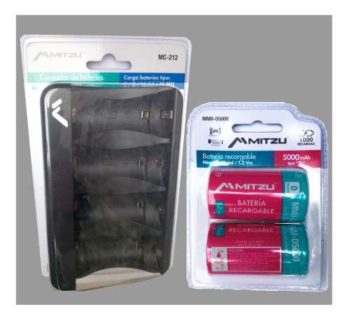 Kit Cargador + 2 Baterias Pila Recargable Tipo D  Mah -.