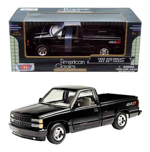 Camioneta  Chevrolet 454 Ss  Negra Motor Max 1/24