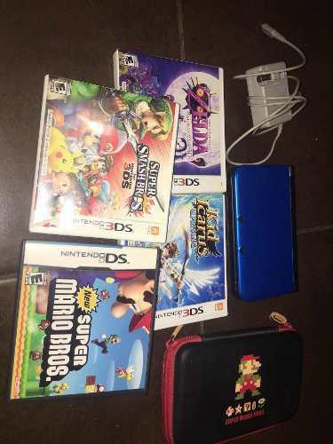 Nintendo 3ds Xl Con Funda Y 4 Juegos