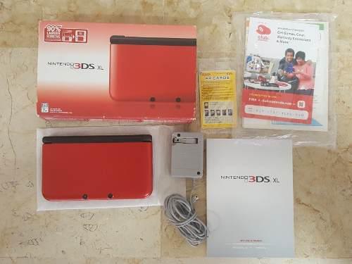 Nintendo 3ds Xl Rojo Con Caja Con Juegos.