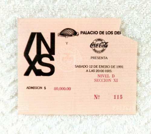 Boleto De Coleccion De Inxs En El Palacio De Los Deportes
