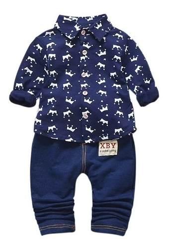 Conjunto Casual Traje Ropa Para Bebé Pantalón Y Camisa