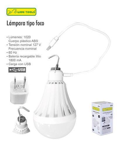 Foco Led Recargable Usb 1020 Lumens Con Gancho Para Colgar