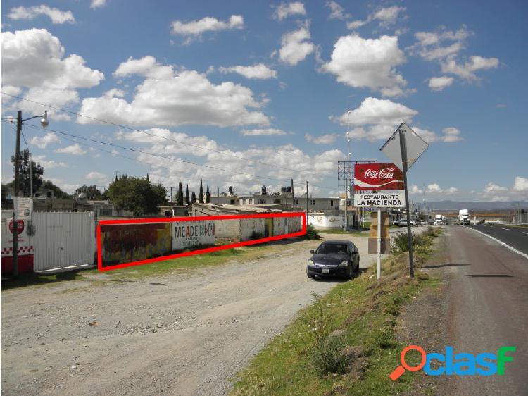 Terreno, autopista Pachuca-Sahagun en Zempoala.
