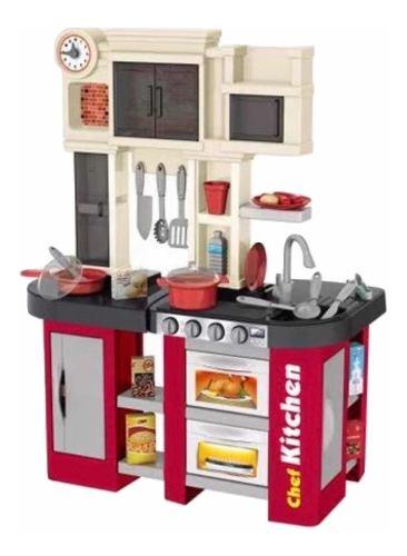 Cocina Cocinita Infantil Agua Luz Y Sonido 58 Pzs Alto 84 Cm
