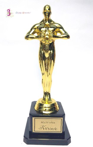 Etiqueta Statuilla Premio Oscar Hollywood Trofeo Fiesta Tema