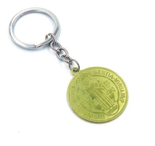 Llavero Acero Dorado Medalla San Benito Mediana