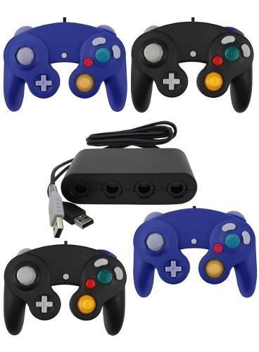 Paquete Adaptador 4 Puerto Wii U Pc Y 4 Controles Gamecube