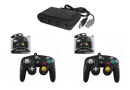Paquete Adaptador Control Wii U Y Pc + 2 Controles Gamecube