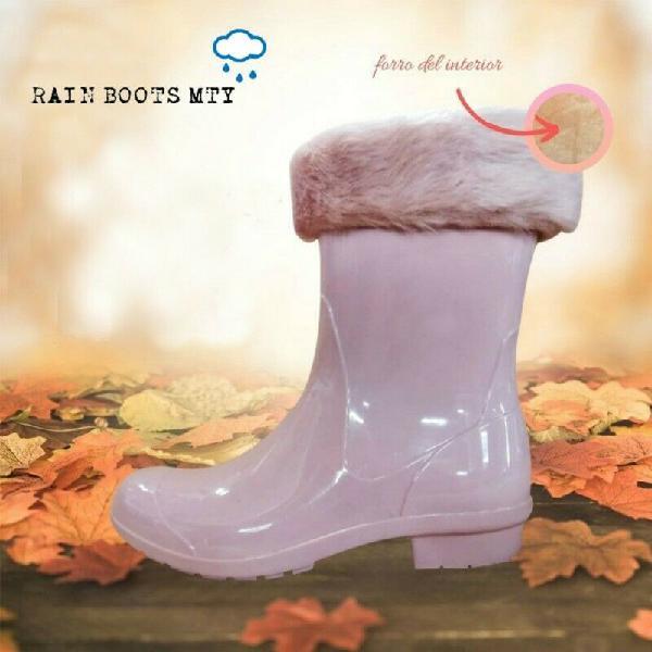 Botas de lluvia rosa palo - con forro afelpado