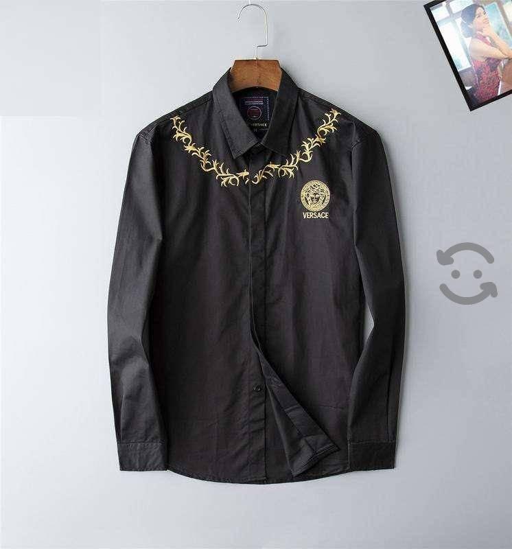 Camisa Versace Bordada Negra para Hombre Caballero
