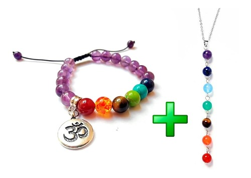 Pulsera 7 Chakras Amatista + Collar Yoga Mandala Cuarzo
