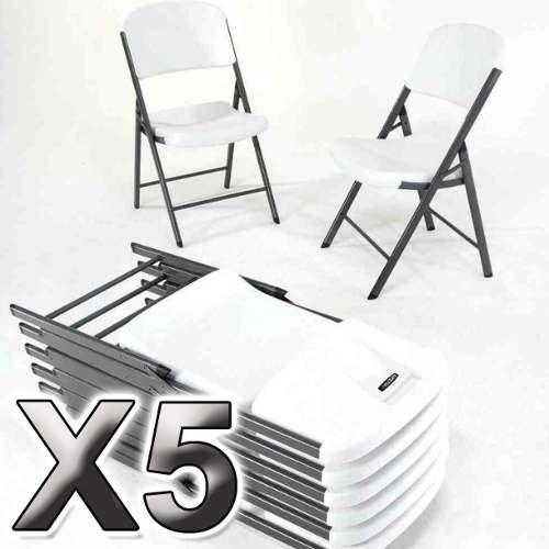 5 Silla Plegable De Plastico Y Acero Para Exterior