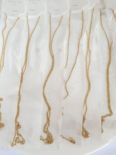 Cadena De Oro Laminado 18k Y Acero Inox Para Dije