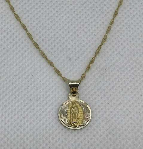 Cadena Y Medalla Bautizo Oro 10 Kilates