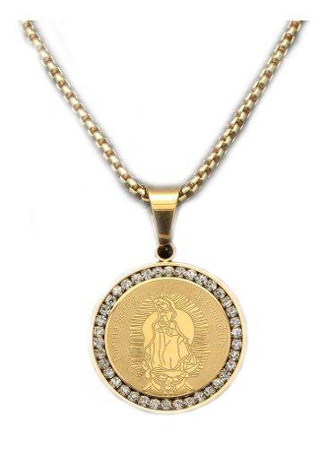 Colgante Nuestra Virgen De Guadalupe Acero Color Oro Medalla