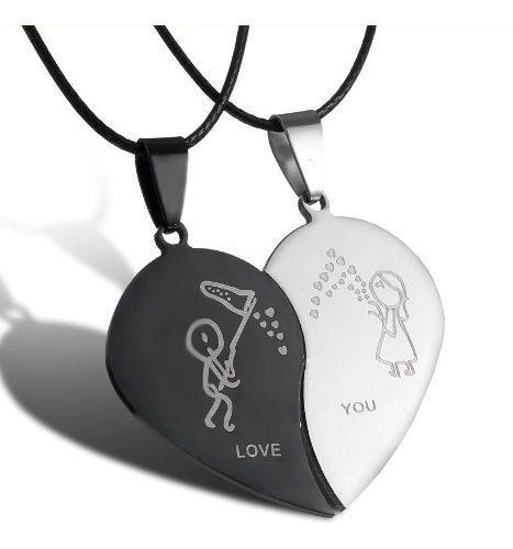 Collar Corazon Love You Yin Yang Acero Inoxidable Con Envio