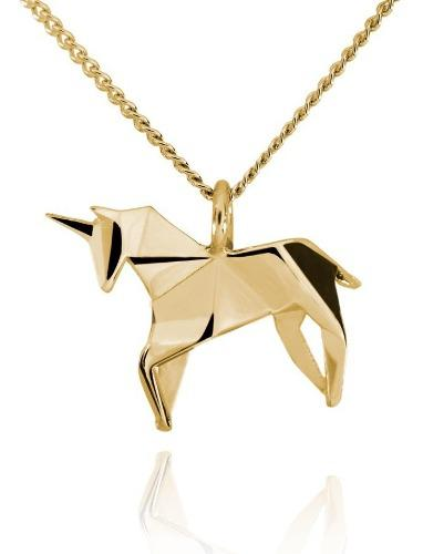 Dije Origami Unicornio De Plata Con Acabado En Oro