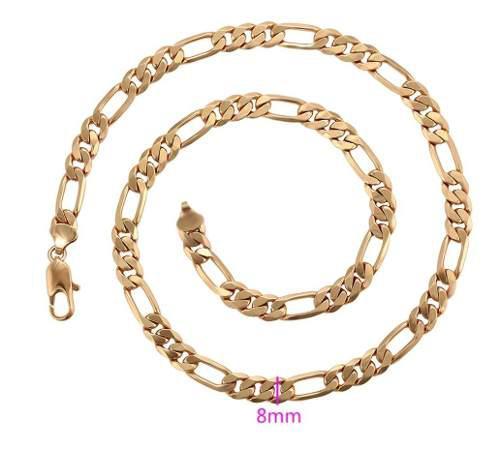 Gruesa Cadena De Oro Laminado De Eslabones Figaro Cartier