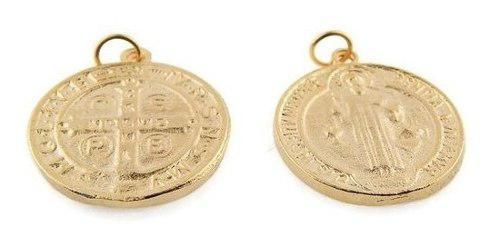 Medalla De San Benito Chapa De Oro14k 1 Cm Bisuteria 25 Pz