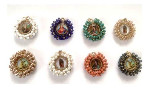 Medalla Virgen De Guadalupe Y Santos Con Cristales O Perlas