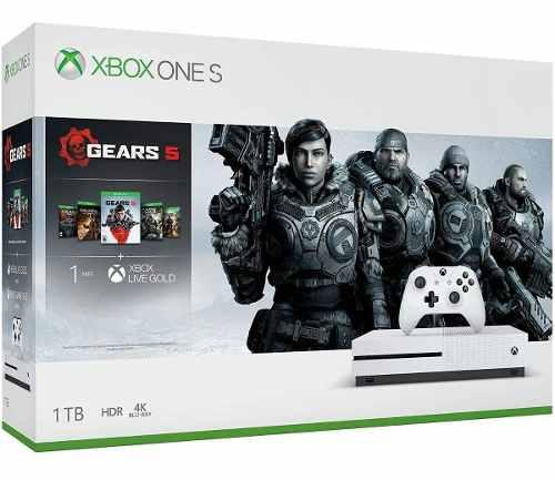 Consola Xbox One S 1tb Paquete Gears 5 + Gow 1,2,3,4 + Live