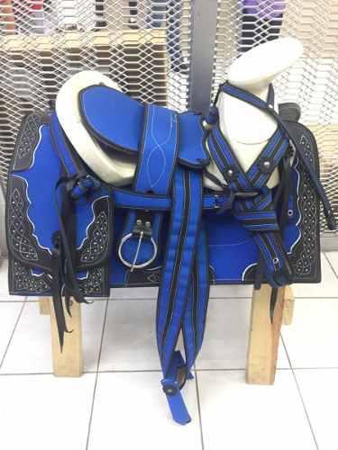 Montura O Silla Charra De Lona Caballo Fuste 15 Azul Equino