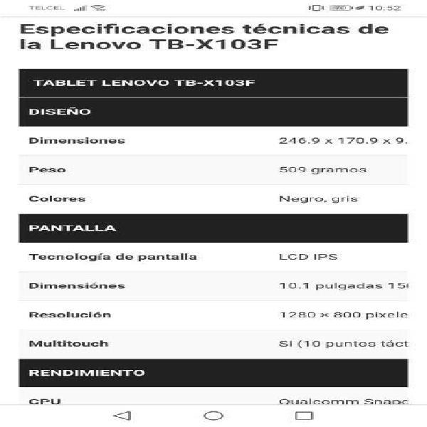 """TABLET DE 10"""" LENOBO X103F"""