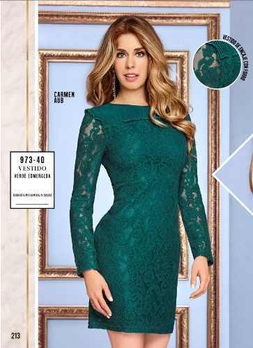 Vestido Cklass Verde Esmeralda 973-40 Otoño Invierno 2018