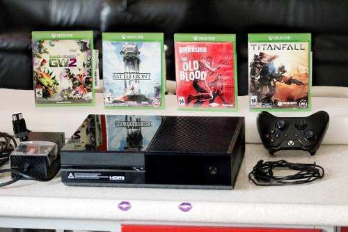 Xbox One Con Cuatro Juegos Y Pila Recargable