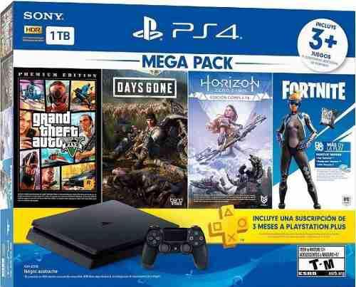 Consola Ps4 Slim 1tb Mega Pack C/3 Juegos
