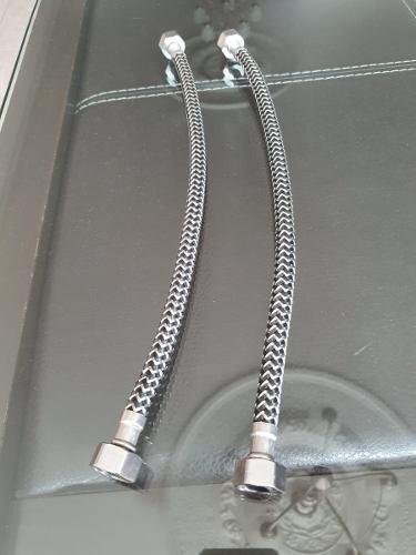 2 Mangueras Tipo Coflex 55 Cms Fregadero Tramado Acero Inox.