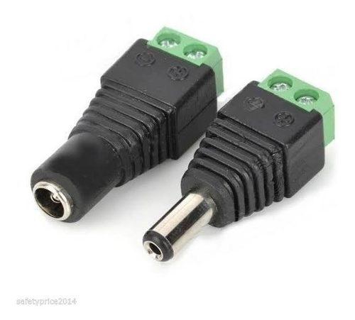 Conector Macho Y Hembra Plug 2.1mm Para Arduino Camara Cctv