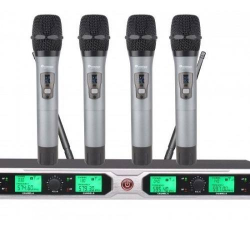 Set 4 Mics Inalámbri Uhf Montable Rack Soundtrack Stw404hh