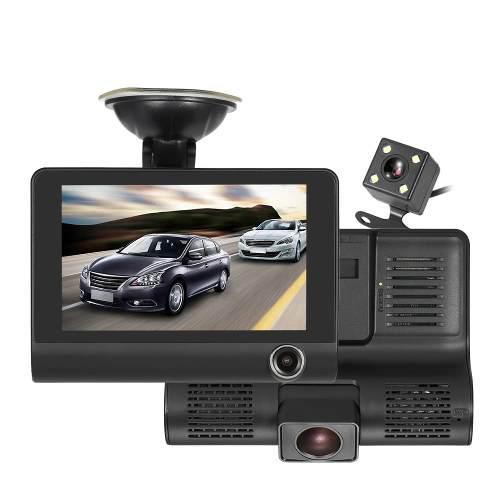 Videocámara Dvr Kkmoon 4 1080p De 3 Lentes P/auto Negro