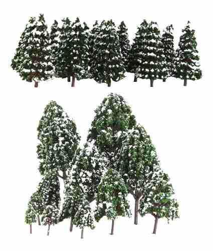 32 Piezas Modelo De Árbol De Nieve Color Verde Oscuro
