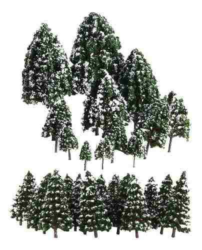 32x Mini Modelos De Árbol De Nieve Color Verde Escala 1: