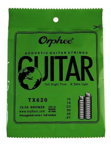 1 Pak 6 Cuerdas Orphee Guitarra Acústica 10/47T/ernie Ball