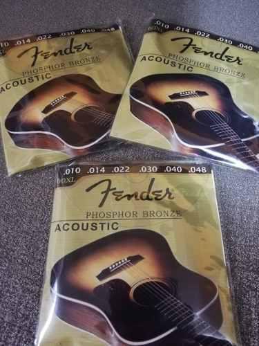 10 Pak De Cuerdas De Acero Metal Bronce Fender Para Guitarra