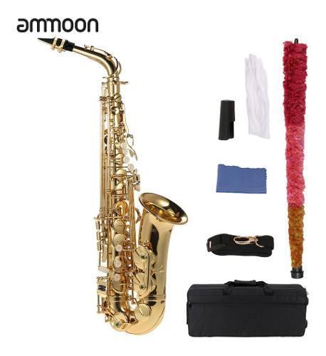 Ammoon Eb Saxofón Alto Latón Lacado Oro E Saxofón Plano