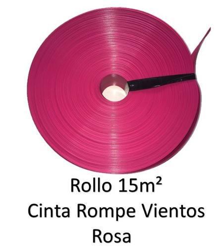 Cinta Rompe Viento Rosa P Malla Cicloni Rollo 15m2 Rs15