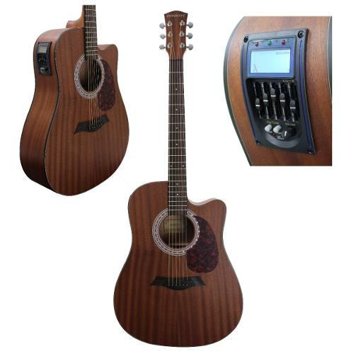 Guitarra Electroacústica Con Afinador Y Curva Sapele