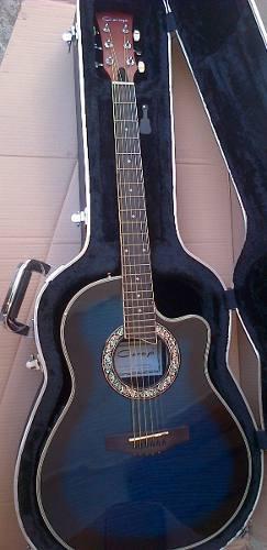 Guitarra Electroacustica Caraya Azul C/estuche Sp-721ceqtbls