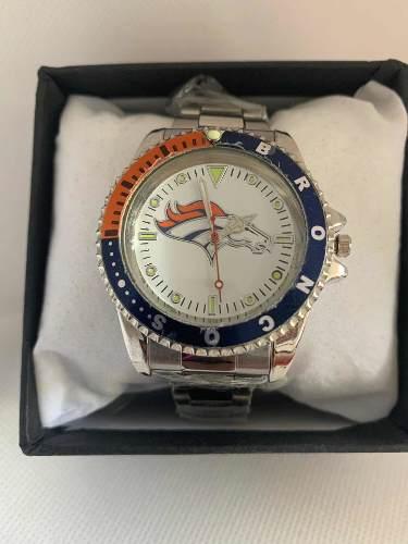Reloj Deportivo Broncos De Denver De Colección Acero Inox