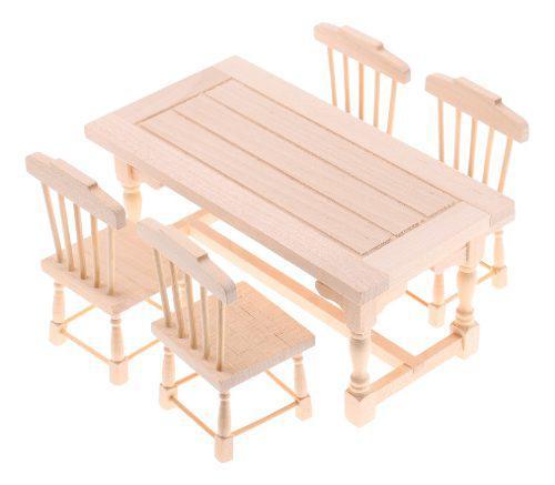1/12 Miniaturas Conjunto De Muebles De Comedor De Madera