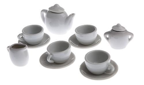 1/6 Juego De Té De Porcelana Blanco En Miniatura