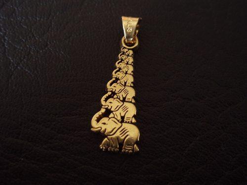 Dije 7 Elefantes De La Fortuna En Chapa De Oro