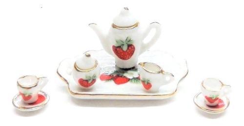 Hermoso Juego De Te Miniatura Porcelana Fina Strawberry Spec