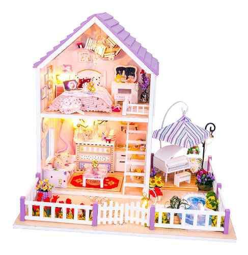 Kit De Miniatura De Casa De Muñecas De Madera Diy W /