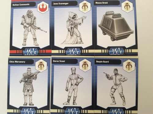 Lote De 6 Figuras Star Wars Miniatures + Tarjeta + Protector